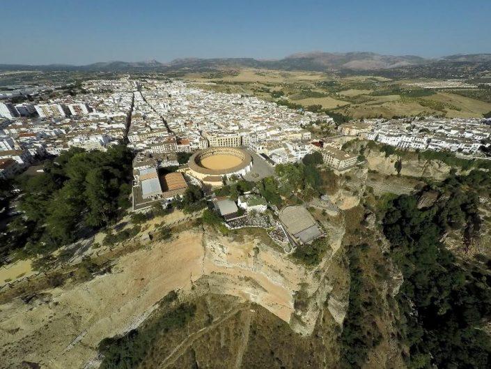 Vista aérea del restaurante Abades Ronda y el Tajo de Ronda